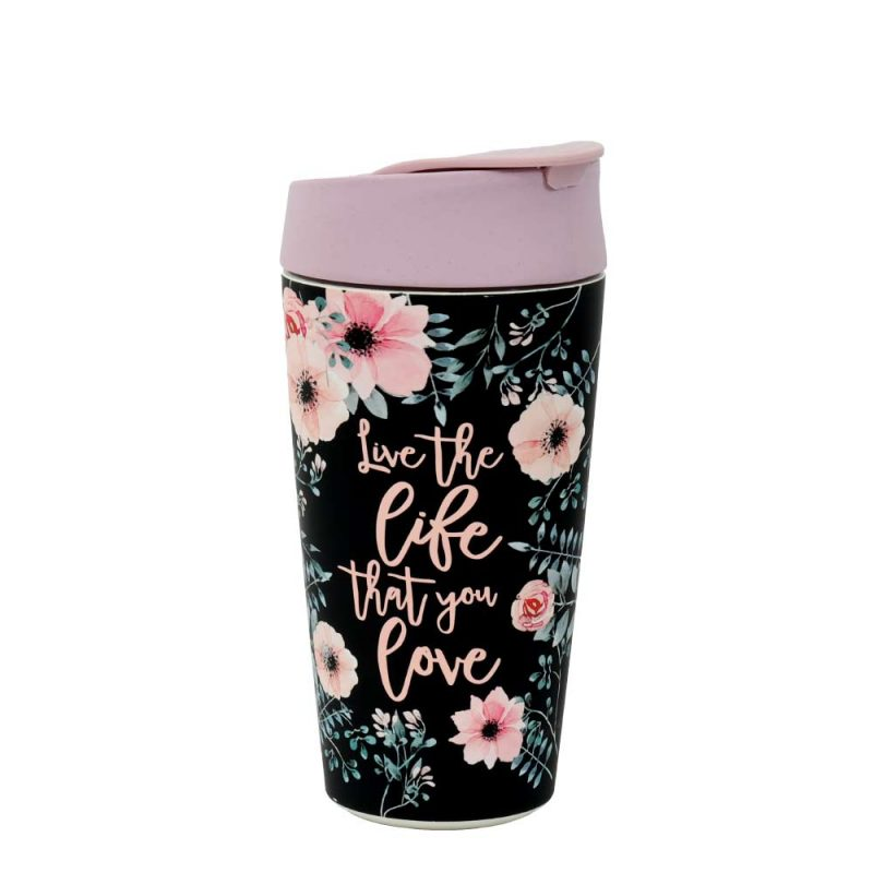 Kaffeebecher Bioloco Plant - Deluxe Cup 'Live the Life', 420ml